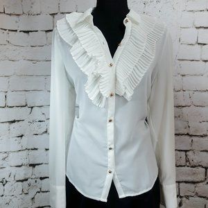 White long sleeve tee with ruffles size large